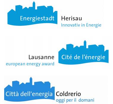 Energiestadt logo in three languages