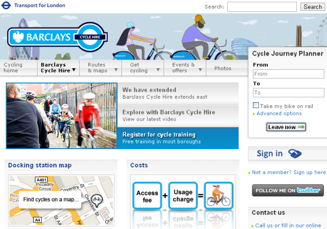 Barclays Cycle Hire official site screenshot