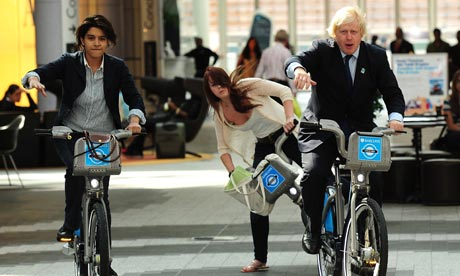 Boris Johnson, Mayor of London, on a Barclays sponsored cycle