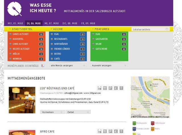 Screenshot of Salzburg's business lunch calendar