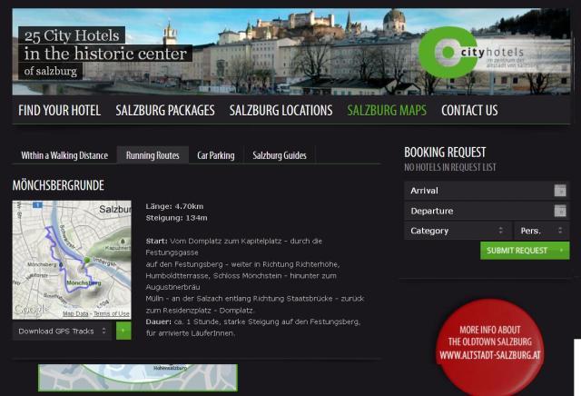 Screenshot of SalzburgCityHotels' jogging map