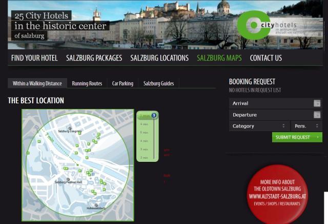 Screenshot of SalzburgCityHotels' walking map