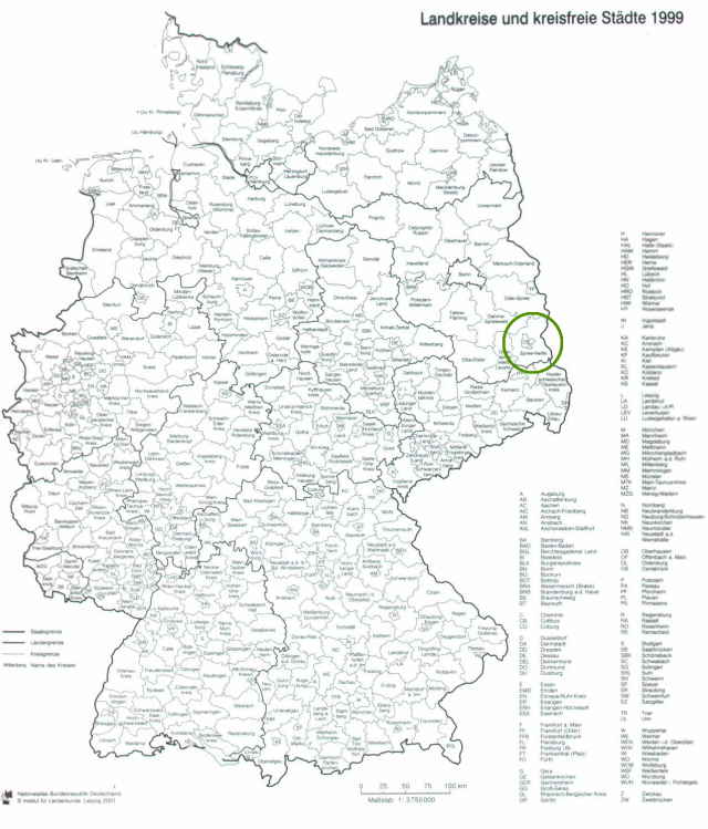 The project area on a map of Germany