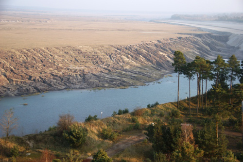 An articificial lake where coalfields used to be