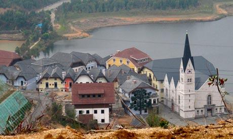 Replica of the Austrian alpine town Hallstatt in Guangdong Province, China. Photograph: Alex Hofford/Sinopix/Rex