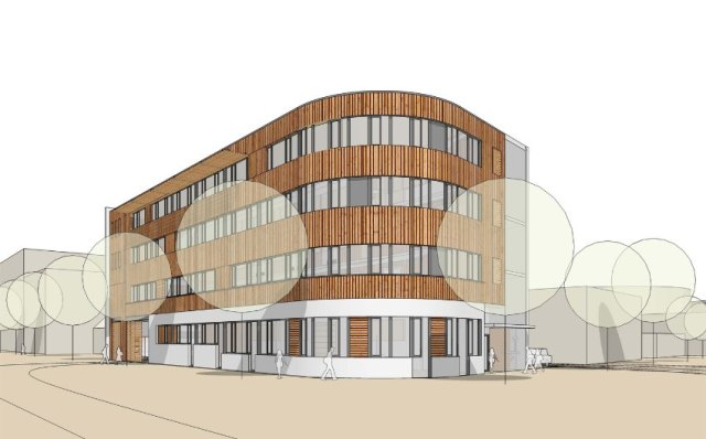 """Preliminary sketch: instrument maker Kai Schupp and Polsterin Yvonne Rokita want to stay in Hamburg-Altona. Together with 15 other small businesses they are creating their own industrial park, the """"Handwerkshof Ottensen""""."""