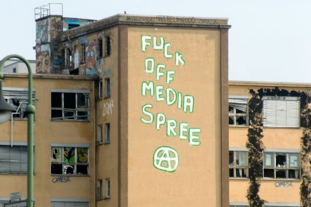 """Mediaspree Versenken"" is an important urban social movement in Berlin, that was successful in stopping real estate speculation along the river Spree."