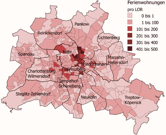 Map 2: Holiday flats in Berlin. Source: http://de.paperblog.com/berlin-steigende-mieten-im-handgepack-das-geschaft-mit-den-ferienwohnungen-242107/