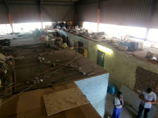 A settlement inside an empty former factory. Inhabitants were moved there after their shacks in Marlboro South were demolished