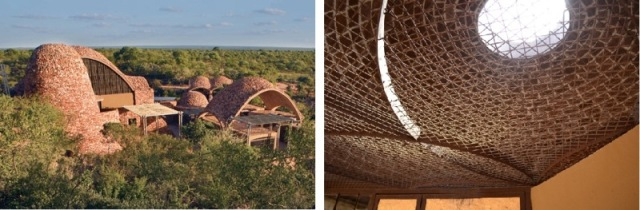 Construction material inspired by the surrounding landscape. (left pic) The rolling brick vaults are a 600-year-old, local construction technique. (right pic)