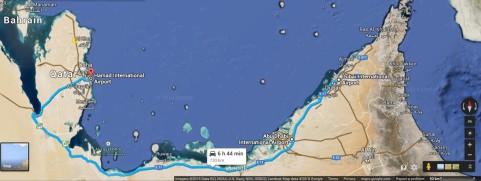 Dubai - Abu Dhabi - Doha Route (Google Maps, 2015)