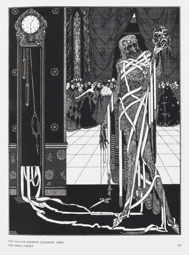 """The dagger dropped gleaming upon the sable carpet"". From Tales of Mystery and Imagination ... Illustrated by Harry Clarke, by Edgar Allan Poe. London : G. G. Harrap & Co., 1919. (British Library item 12703.i.43). Illustrating The Masque of the Red Death."